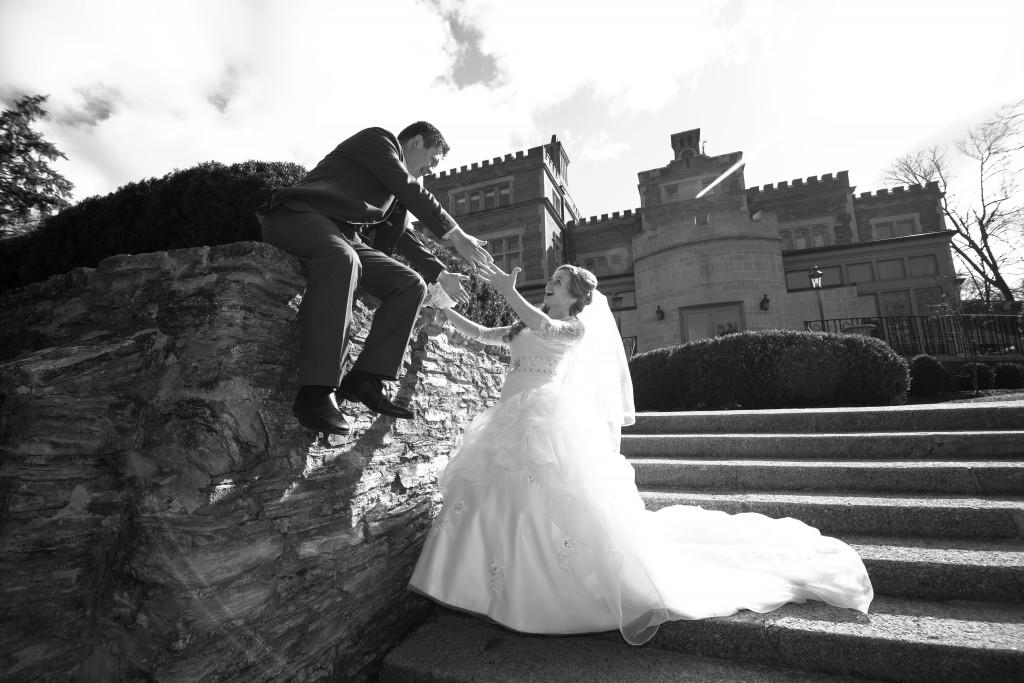 Bride catching groom