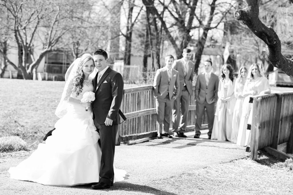 Bride and Groom with party on bridge